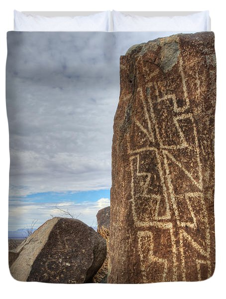 Three Rivers Petroglyphs 4 Duvet Cover by Bob Christopher
