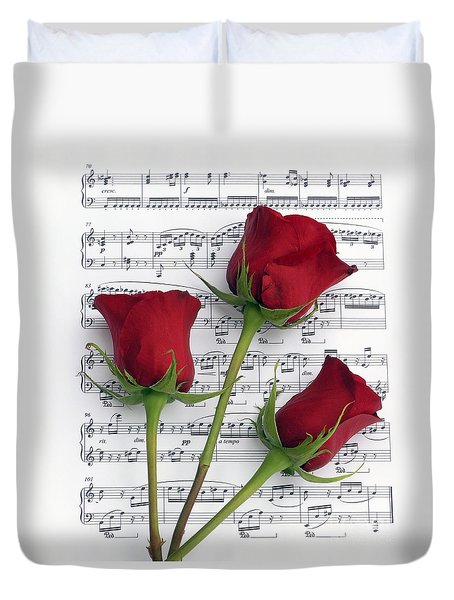 Three Rose Music Duvet Cover