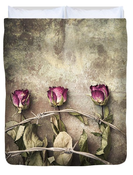 Three Roses And Barbed Wire Duvet Cover