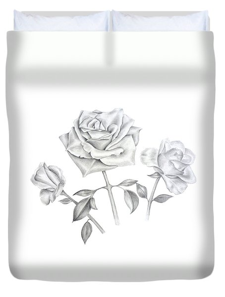 Three Roses Duvet Cover by Elizabeth Lock