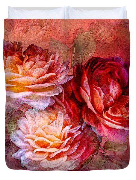 Duvet Cover featuring the mixed media Three Roses - Red by Carol Cavalaris