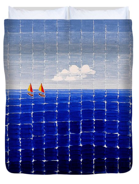 Three Sail Boats #2 Duvet Cover