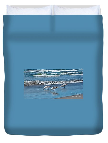 Duvet Cover featuring the photograph Three Seagulls At Ocean Shore Art Prints by Valerie Garner