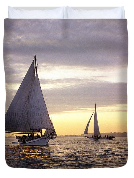 Three Skipjacks Dredging Oysters At Dawn Duvet Cover