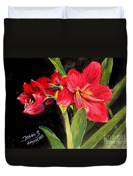 Three Stalks Of Lilies Blooming Duvet Cover