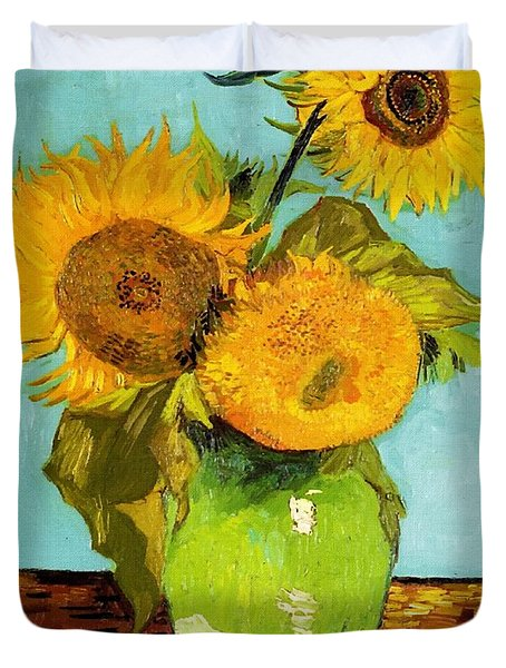 Three Sunflowers In A Vase Duvet Cover