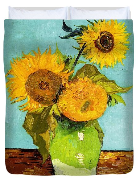 Three Sunflowers In A Vase Duvet Cover by Vincent Van Gogh