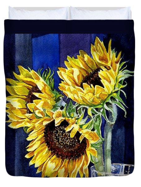 Three Sunny Flowers Duvet Cover