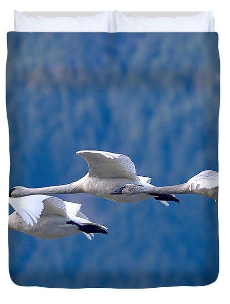 Three Swans Flying Duvet Cover