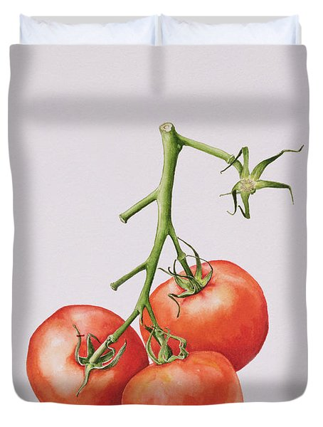 Three Tomatoes On The Vine Duvet Cover
