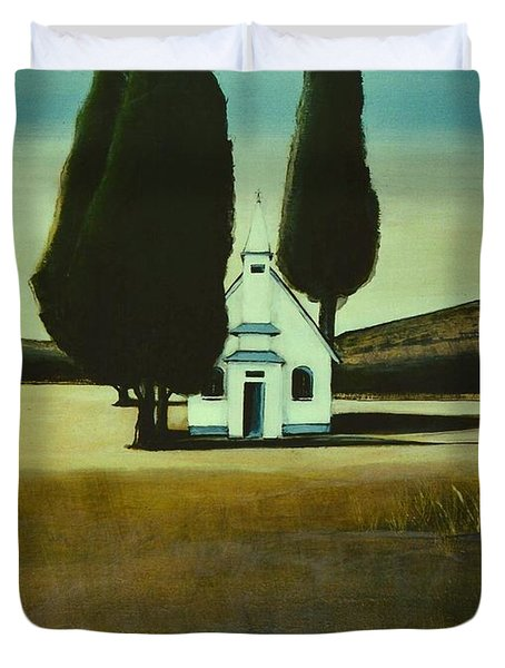 Three Trees And A Church Duvet Cover