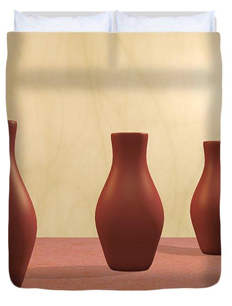 Duvet Cover featuring the digital art Three Vases by Gabiw Art