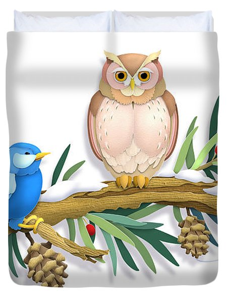 Three Watchful Friends Duvet Cover