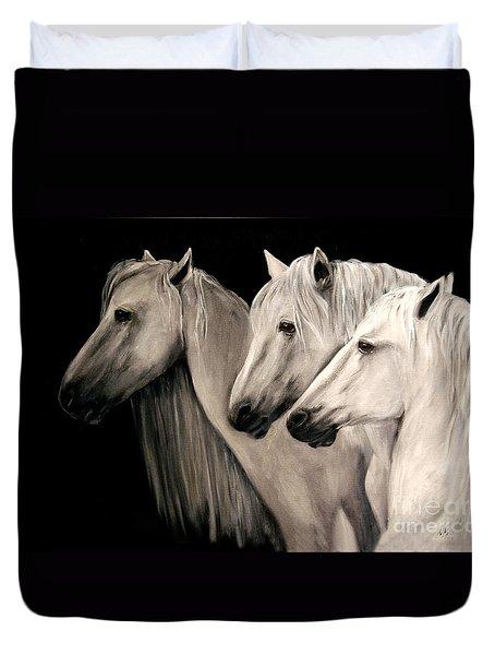 Three White Horses Duvet Cover