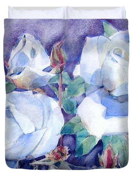 White Roses With Red Buds On Blue Field Duvet Cover