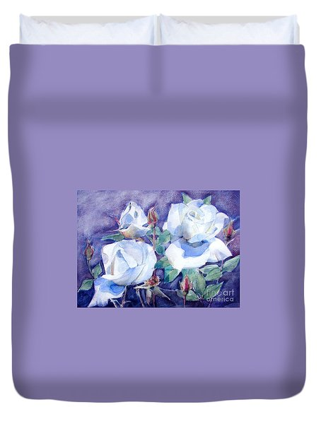 Duvet Cover featuring the painting White Roses With Red Buds On Blue Field by Greta Corens