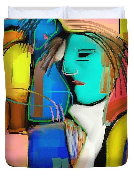 Three Women Conversing Duvet Cover by Nedunseralathan R