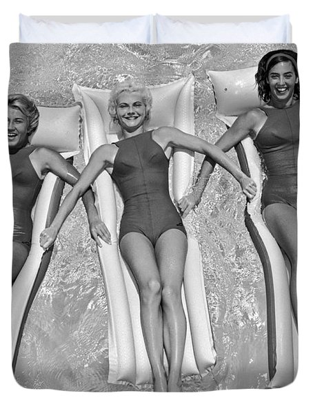 Three Women Floating In A Pool Duvet Cover