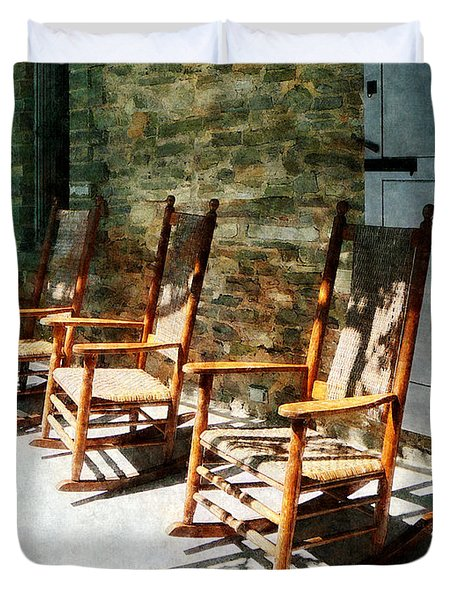 Three Wooden Rocking Chairs On Sunny Porch Duvet Cover by Susan Savad