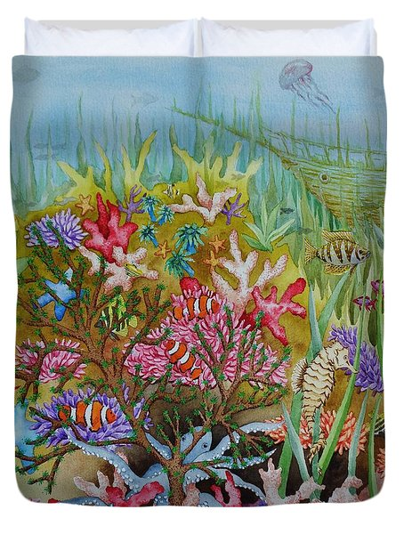 Thriving Ocean -sunken Ship Duvet Cover by Katherine Young-Beck