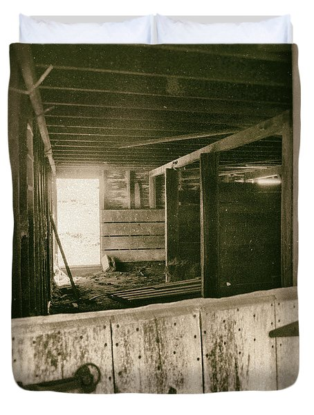 Through The Barn Door Duvet Cover