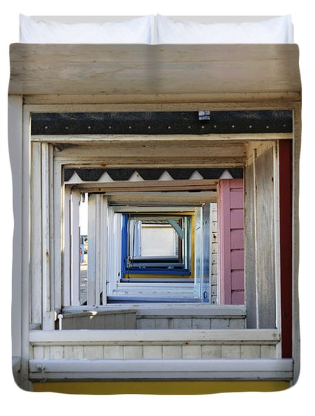Through The Beach Huts Duvet Cover