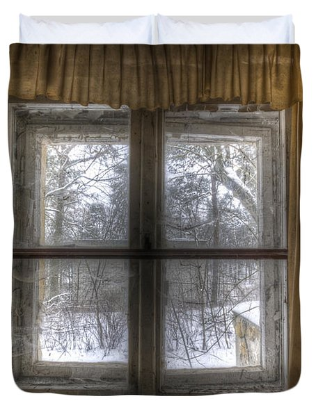 Through The Dirty Window Duvet Cover by Nathan Wright