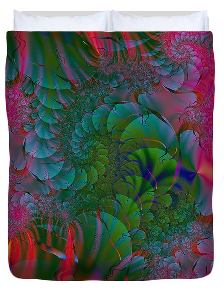 Duvet Cover featuring the digital art Through The Electric Garden by Elizabeth McTaggart