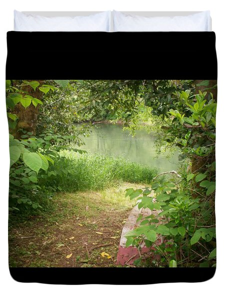 Through The Forest At Water's Edge Duvet Cover by Absinthe Art By Michelle LeAnn Scott