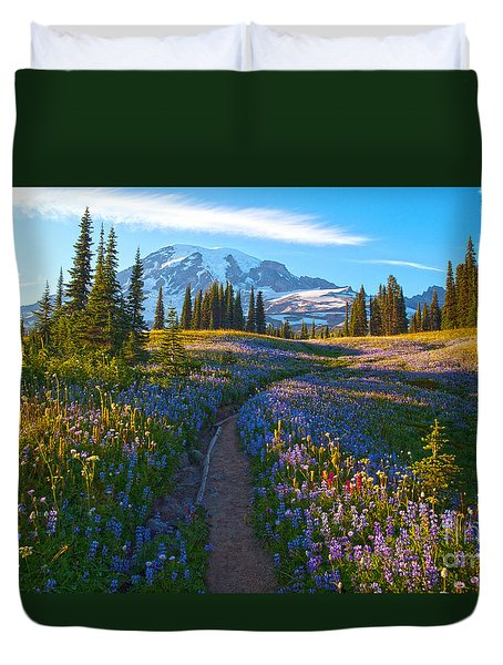 Through The Golden Meadows Duvet Cover by Mike Reid