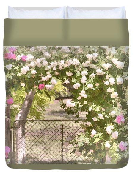 Duvet Cover featuring the photograph Through The Rose Arbor by Elaine Teague