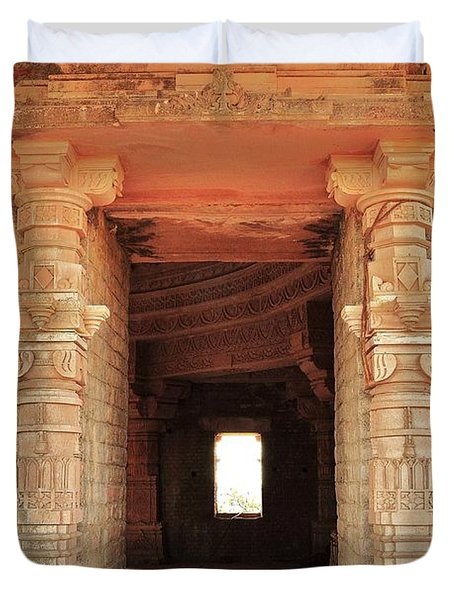 When Windows Become Art - Jain Temple - Amarkantak India Duvet Cover by Kim Bemis