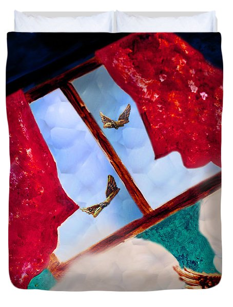 Duvet Cover featuring the digital art Through The Window by Janie Johnson