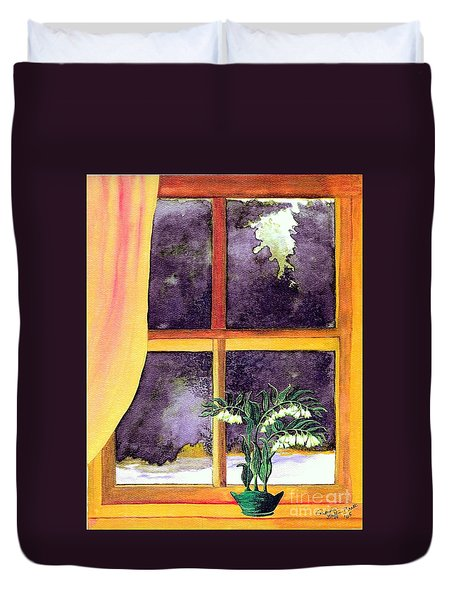 Duvet Cover featuring the painting Through The Window by Patricia Griffin Brett