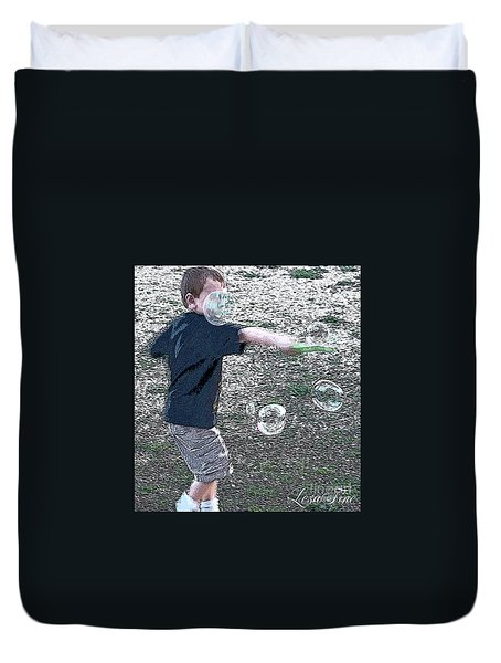 Duvet Cover featuring the photograph Throwing Bubbles by Lesa Fine