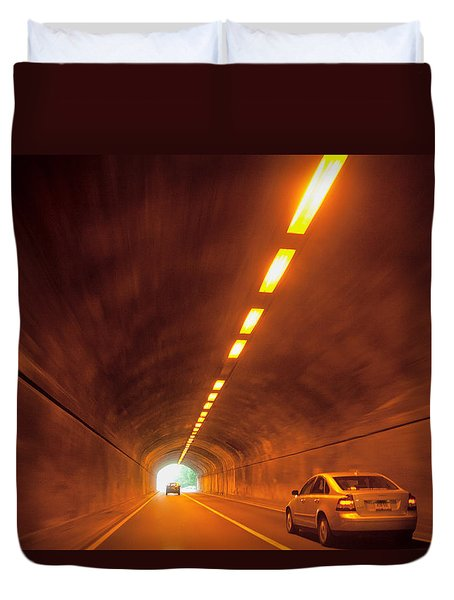 Thru The Tunnel Duvet Cover by Karol Livote