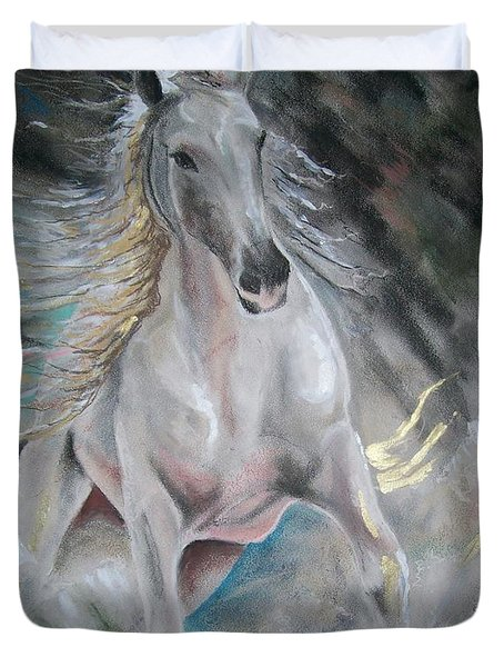 Thrusting Out Duvet Cover by Peter Suhocke