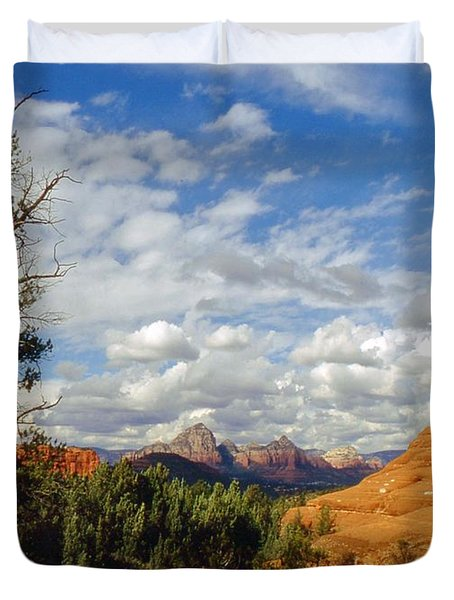 Duvet Cover featuring the photograph Thunder Mountain by Gary Wonning