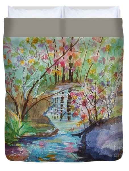 Duvet Cover featuring the painting Thunder Mountain Mystery by Ellen Levinson