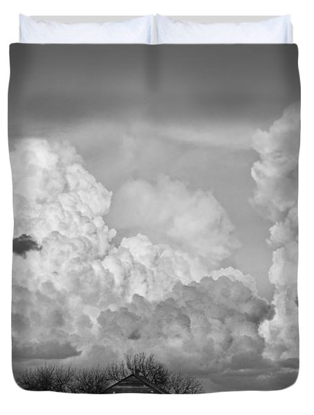 Thunderstorm Clouds And The Little House On The Prarie Bw Duvet Cover by James BO  Insogna