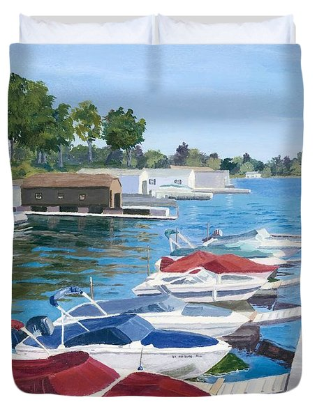 Duvet Cover featuring the painting T.i. Park Marina by Lynne Reichhart