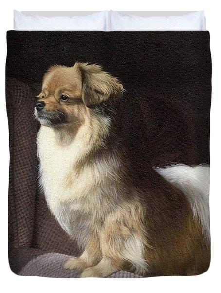Tibetan Spaniel Painting Duvet Cover