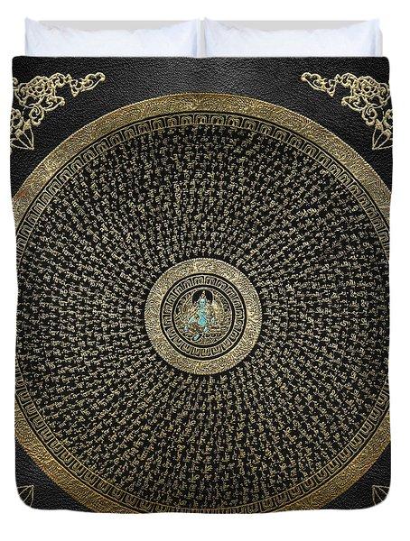 Tibetan Thangka - Green Tara Goddess Mandala With Mantra In Gold On Black Duvet Cover