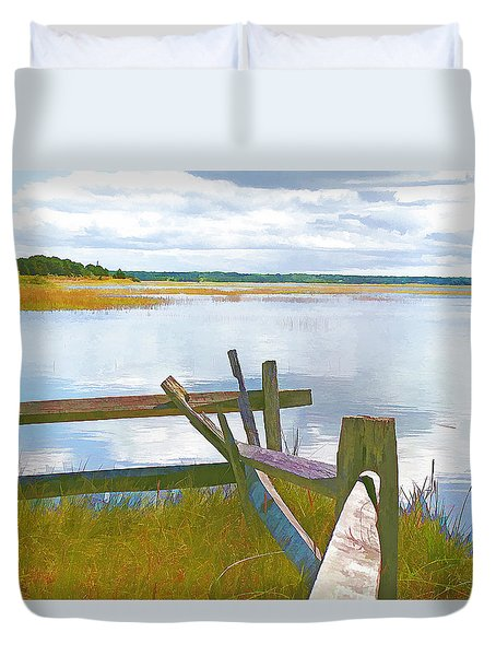 Tide And Fence Oil Duvet Cover