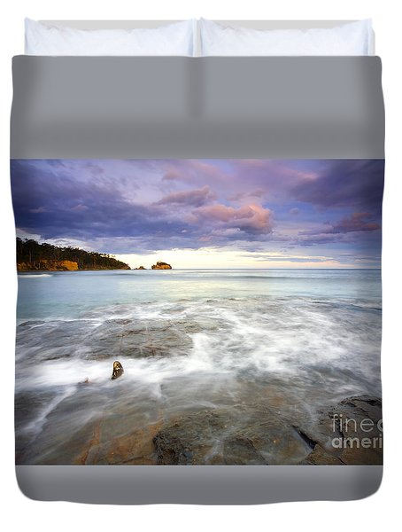 Tide Covered Pavement Duvet Cover by Mike  Dawson
