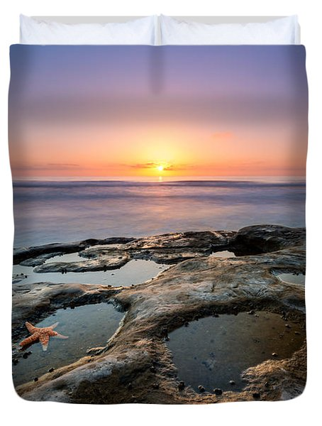 Tide Pool Sunset Duvet Cover by Michael Ver Sprill