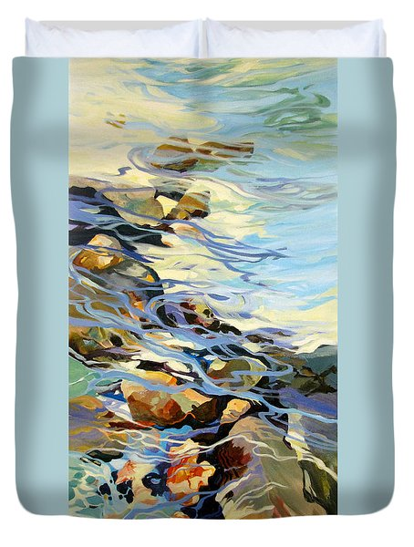 Duvet Cover featuring the painting Tidepool 3 by Rae Andrews