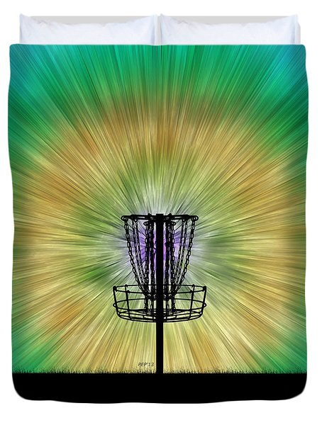 Tie Dye Disc Golf Basket Duvet Cover