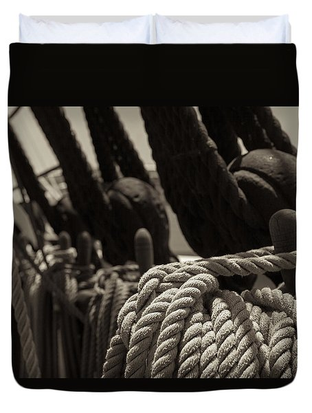 Tied Up Black And White Sepia Duvet Cover