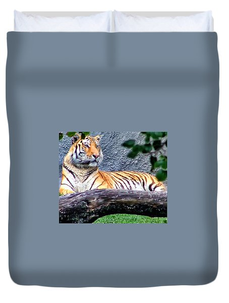 Duvet Cover featuring the photograph Tiger 1 by Dawn Eshelman